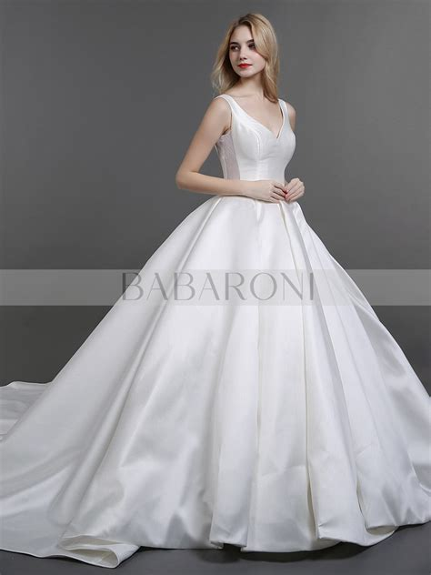 judith ball gown v neck satin royal wedding dress babaroni