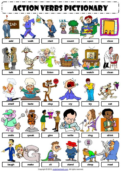 Action Verbs Pictionary 1 Handout By Dilqna Issuu