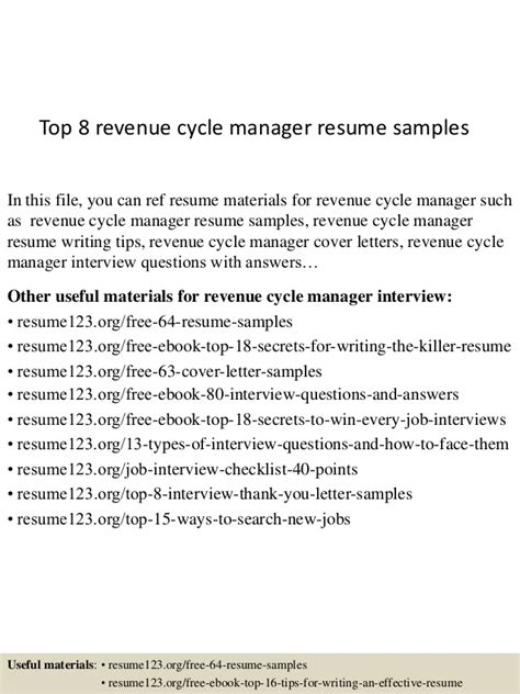 revenue manager resume exles top 8 revenue cycle manager resume sles