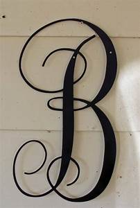 22 inch black script metal letter b door or wall for Metal door letters