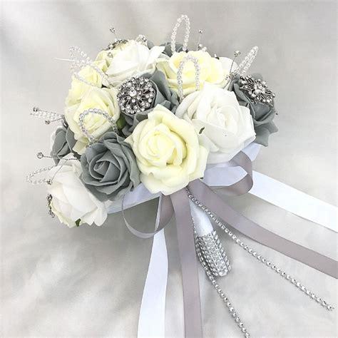 brides posy bouquet lemon white grey roses artificial