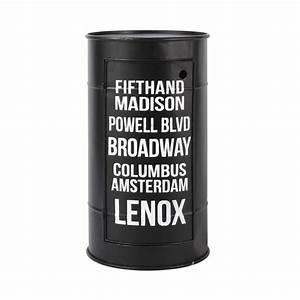 Table de chevet bidon en métal noire L 40 cm Harlem Maisons du Monde
