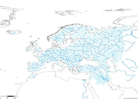 Carte Fleuve Europe Vierge by Europe Fleuves Rivieres Echelle Wgs84 Couleur Vierge Cap