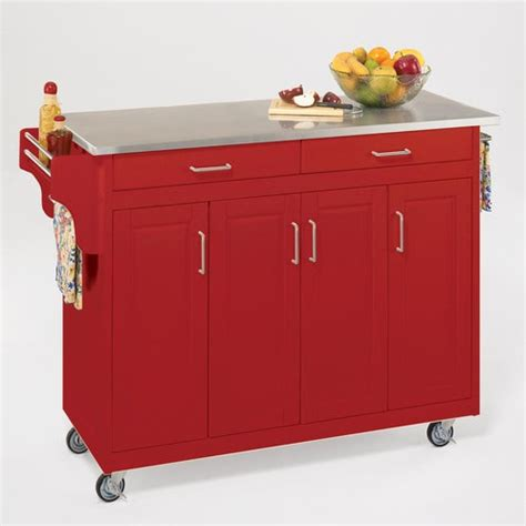 kitchen island cart stainless steel top home styles create a cart kitchen cart with stainless