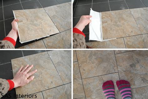 installing floor tile diy how to install groutable vinyl floor tile burger
