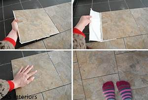 Diy how to install groutable vinyl floor tile jenna burger for How to lay sticky tile in bathroom