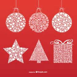 christmas ornaments with snowflakes and stars vector free download