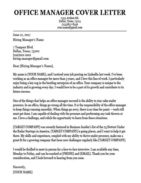 office manager cover letter sample resume companion