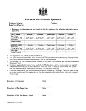 alternate work schedule form fillable online alternative work schedule agreement fax