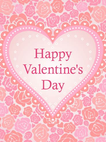 pink roses  hearts happy valentines day card