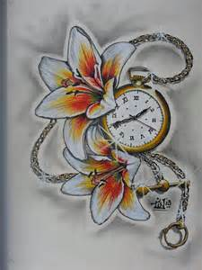 Traditional Tattoo Pocket Watch Drawing