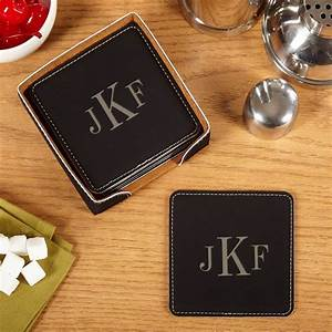 Classic, Monogram, Drink, Coaster, Set, Of, 6, With, Holder