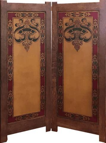 custom white oak folding screen  inset antique