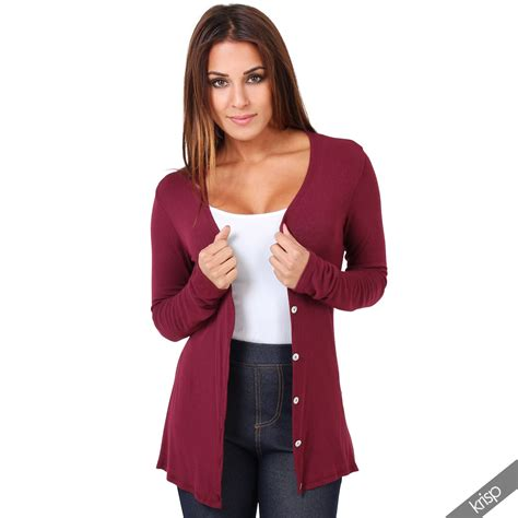 womens thin jersey button v neck top plain cardigan