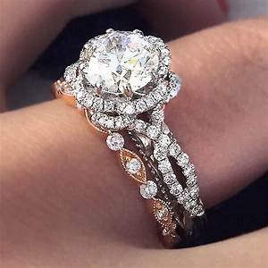 The most gorgeous mixed metal engagement ring and wedding for Mixed metal engagement ring and wedding band