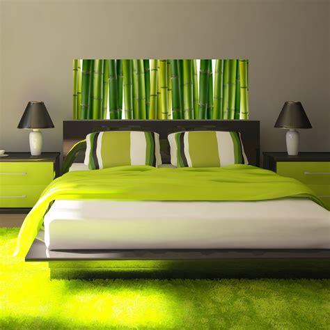 sticker design bambous verts stickers chambre ambiance sticker