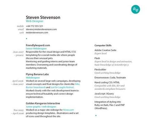 How To Create A Great Cv by How To Create A Great Web Designer R 233 Sum 233 And Cv