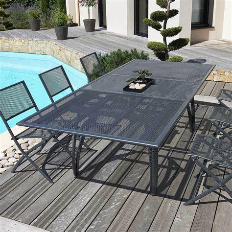 table pliante pour cuisine dcb garden table alu perforé avec rallonge anthracite
