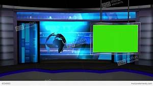 News TV Studio Set 13 Virtual Green Screen Backgro Stock ...