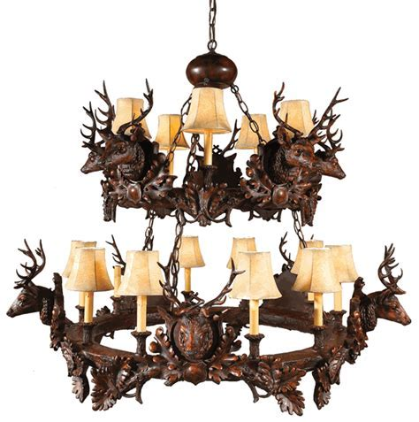 Rustic Chandeliers: Black Forest Stag Head Two Tier