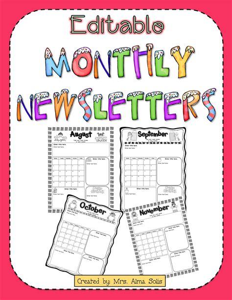 free editable newsletter templates mrs solis s teaching treasures monthly newsletters editable