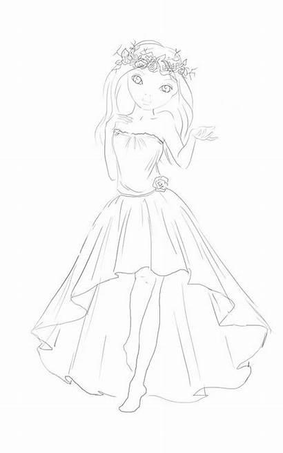 Sketch Deviantart Topmodel Funandcake Outlines Outline Kleid