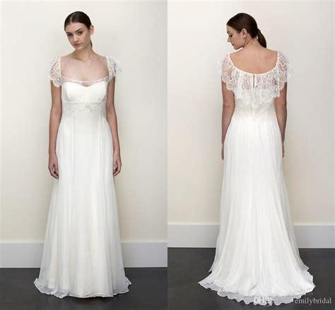 Elegant Boho Sheath Wedding Dresses Empire Waist Floor