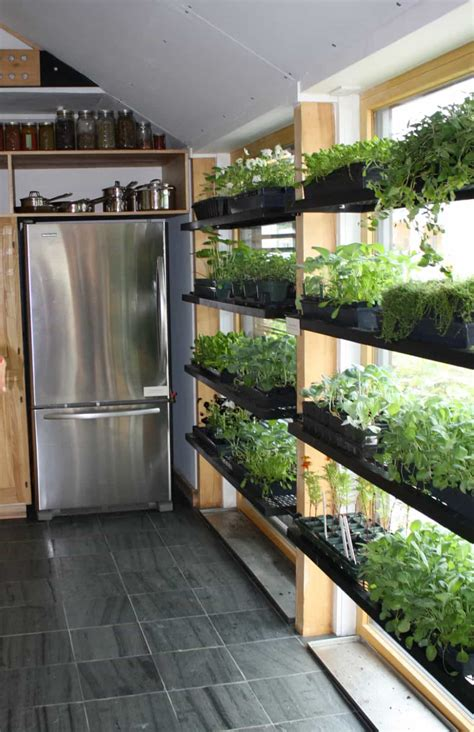 Kitchen With Refrigerator And Indoor Herb Garden Easy