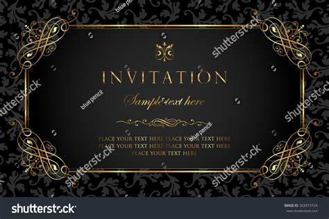 invitation card black gold vintage style stock vector