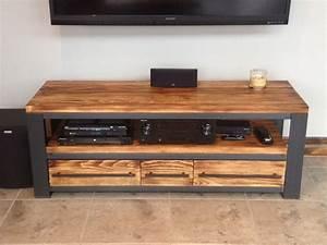 Meuble tv bois metal meuble tele style industriel bois metal for Deco cuisine pour meuble tv bois