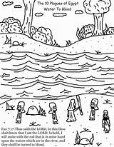 Plagues Water Egypt Blood Coloring Pages River Plague Ten Nile Printable Children Moses Bible Churchhousecollection Church Exodus Turned Sunday Crafts sketch template