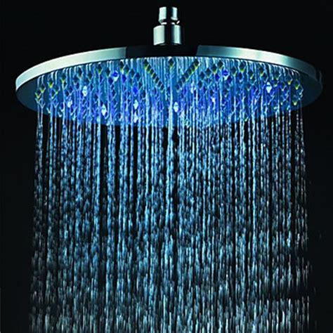 rain shower head with lights 12 inch brass shower head with color changing led light