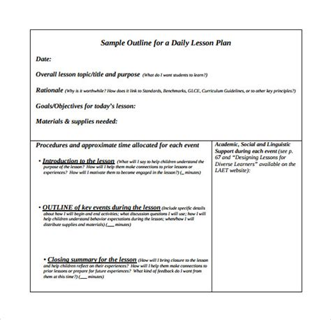 Outline Of A Lesson Plan Template by 10 Unit Lesson Plan Sles Sle Templates