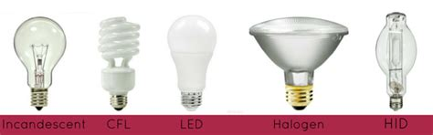 compare incandescent halogen fluorescent  led light