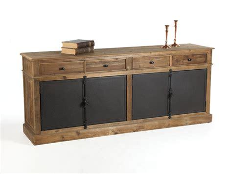 buffet cuisine bas buffet bas en bois avec tiroirs et portes en métal