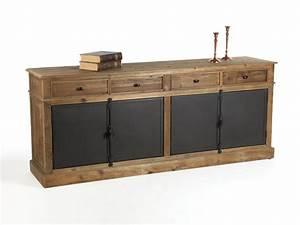 Buffet bas en bois avec tiroirs et portes en métal