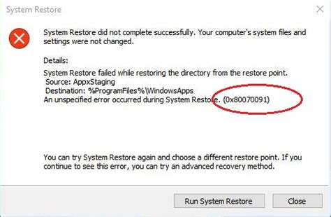 tutorial to fix system restore error 0x80070091