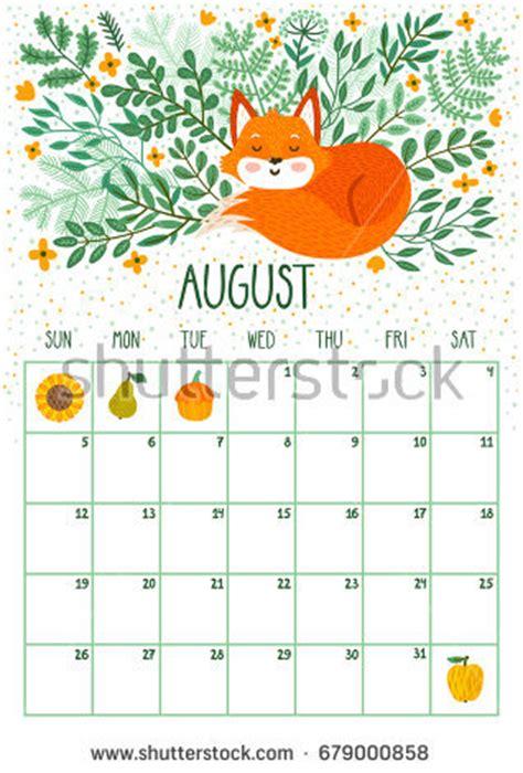 august calendar cute calendar