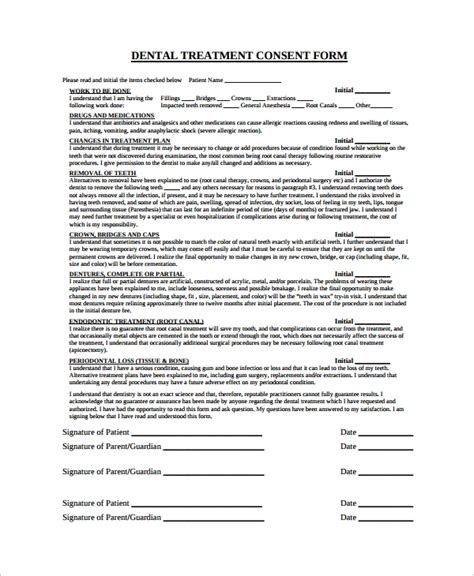 dental informed consent form template sle dental consent form 5 documents in pdf