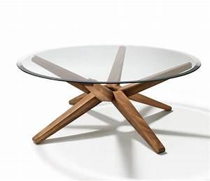 Table Plateau Verre Pied Bois : table ronde pour chaque coin de votre maison en 75 exemples ~ Melissatoandfro.com Idées de Décoration