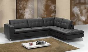 canap d39angle cuir italien noir sofamobili With tapis de gym avec canapé cuir design italien