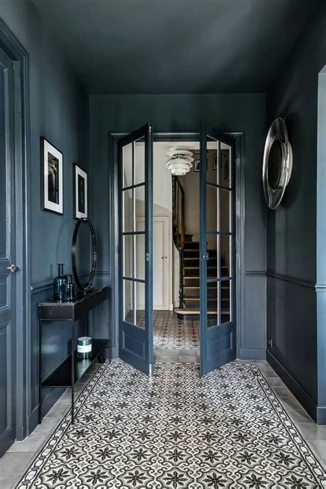 entree bleu carreaxu ciment hallways home decor