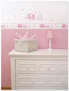 Bordüre Kinderzimmer Elefanten : zuckers e babyzimmer bord re und wandsticker mit elefanten und sternen in rosa grau von dinki ~ Markanthonyermac.com Haus und Dekorationen