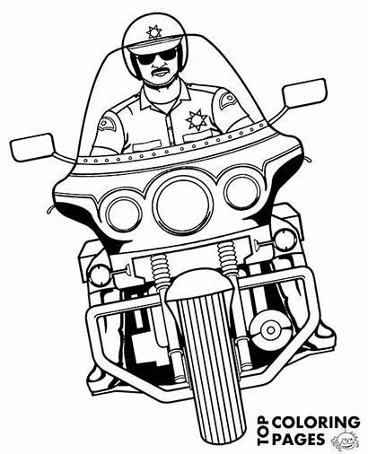 Police Coloring Motorbike Motorcycle Policeman Motorbikes Riding