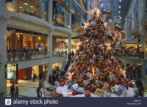christmas shopping eaton centre toronto canada stock