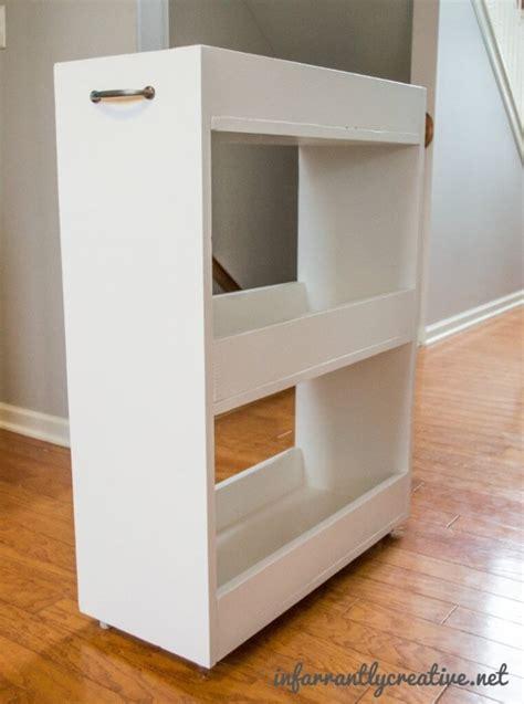 thin shelves ikea slim rolling laundry room storage cart free diy plan