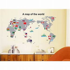 buy map of the world flag removable wall sticker decal With kitchen cabinets lowes with world map wall art stickers