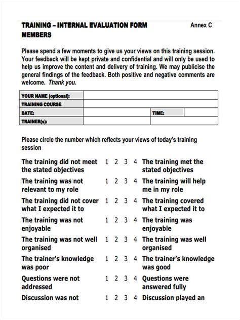 training feedback forms