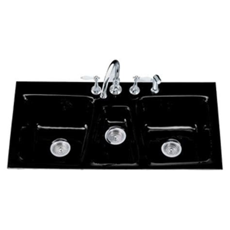 K5893 4 7 Trieste Triple Bowl Sink Kitchen Sink   Black at