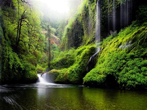 Spring Landscape Waterfall In Oregon Usa Nature River ...
